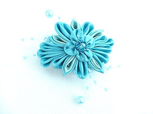 Haarschmuck Haarspange Damen Abi Ball Feste Haarblume in Türkis mit Perlen