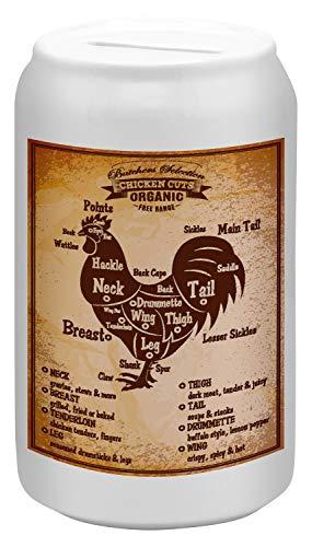 LEotiE SINCE 2004 Spardose Sparbüchse Geld-Dose Wiederverschließbar Farbe Weiß Küche Schnitt Huhn Keramik Bedruckt Huhn, Küche