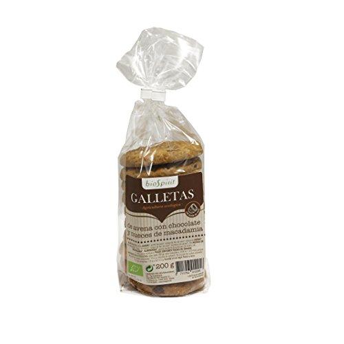 Galletas de Avena bio con Aceite de Coco, Chocolate y Macadamia BioSpirit, 200G