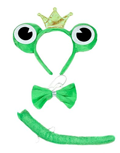 Petitebelle Crown Frog Headband Bowtie Tail 3pc Halloween Costume for Children (One ()