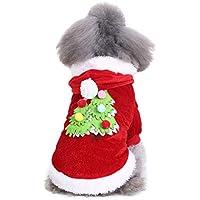 Ropa para Mascotas de Navidad, Gusspower Sudadera con Capucha Encantadora Ropa de Abrigo Invierno cálido cómodo Bordado Impresión del árbol de Navidad para Mascotas Gato Perro