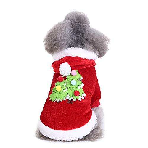 Amphia Haustier Kostüm - Haustier Hund Stickerei Weihnachtsbaum Kleidung,Bequeme Haustier Hund Weihnachtsbaum Kleidung Festival Kleid(Rot,L)