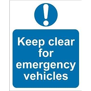 Keep Clear Emergency Vehicles Sign - Adhesive Vinyl -300x400mm(MA-028-AM)