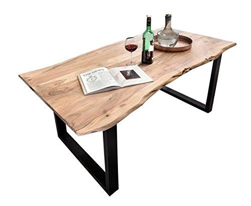 SIT-Möbel Table Basse en Acacia Naturel avec Plateau en métal et Plateau en métal 180 x 90 x 76 cm Plateau Naturel Armature Noire Antique composé de 7175-01 + 7112-11 Épaisseur du Plateau 3,6 cm