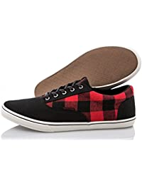 JACK JONES - Homme chaussures vision canvas check print sneaker anthracite
