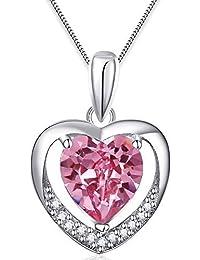 """Ostan Mujeres Joyería """"Love in Heart"""" Rosa Crystals y Circonio Cúbico Pendant Collares y Colgantes con Cadena de plata de ley - Rosa"""