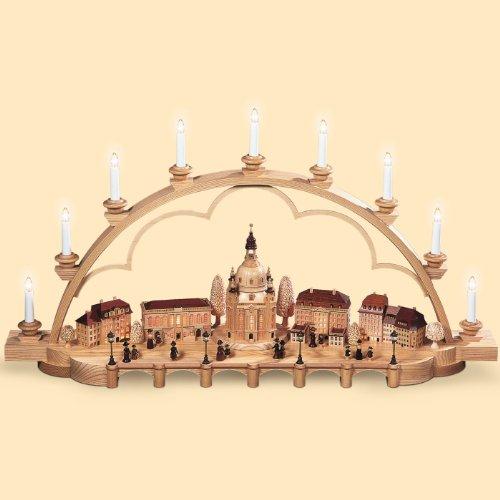 Candelero decorativo originario de los Montes Metálicos (Erzgebirge) Antiguo Dresde, 103 cm. de largo, natural, eléctricamente iluminado (230V, 50Hz), edición limitada, original de los Montes Metálicos (Erzgebirge) hecho por la empresa Müller del pueblo d