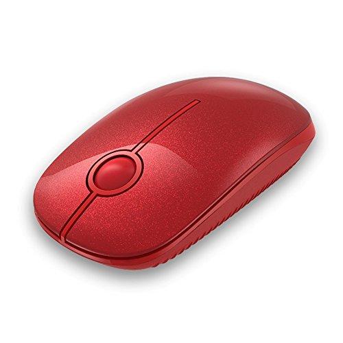 Kabellose Maus, Jelly Comb 2.4G Maus Schnurlos Wireless Kabellos Optische Maus mit USB Nano Empfänger für PC / Tablet / Laptop und Windows / Mac / Linux (Hochrot)