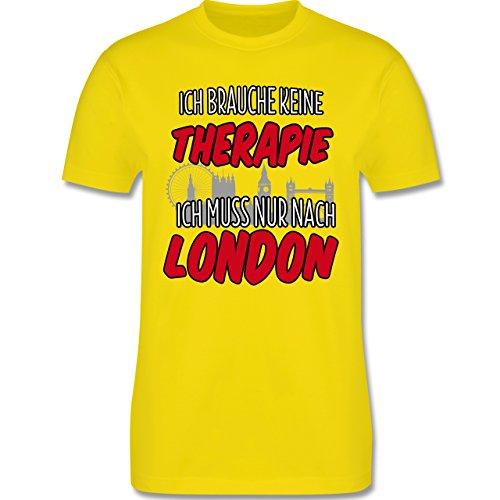 Städte - Ich brauche keine Therapie ich muss nur nach London - Herren Premium T-Shirt Lemon Gelb
