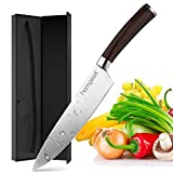 Homgeek Chef Knife, 8 Inch Kitchen Knife with German High Carbon Stainless Steel, Anti-Corrosion and Anti-Tarnish Blade, Ergonomic Classy Wooden Handle, Gift Box