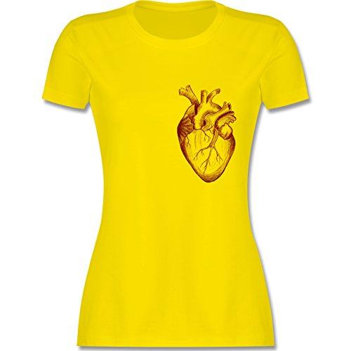 Nerds & Geeks - Herz Anatomie - tailliertes Premium T-Shirt mit Rundhalsausschnitt für Damen Lemon Gelb