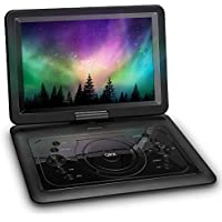 QKK 14.1 Inch Screen Portable DVD Player, Built In 6 Hours Rechargeable Battery, Car DVD Player, 270° Rotatable HD Display, Supports USB and SD Card, USB Data Replication Function, DVD Player, Black.