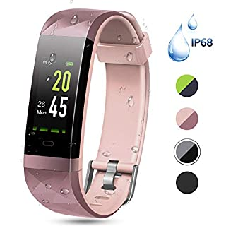 Color Screen Fitness Tracker, Lintelek Activity tracker, IP68 Waterproof, Heart Rate Monitor, Calorie Counter, Slim Pedometer for Kids Women Men
