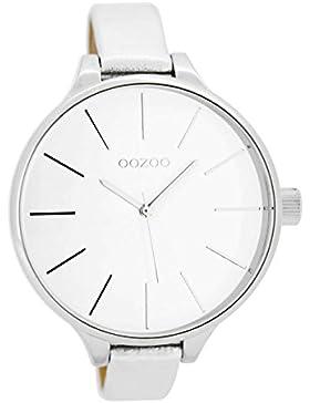 Oozoo Damenuhr mit Lederband 40 MM Weiss/Silber C7165