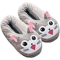 Zapatillas Casa Invierno, Lindos Dibujos Animados de Diseño Animal Cómodos Suaves y Cálidos Zapatillas de Felpa Zapatillas de Casa Mujer