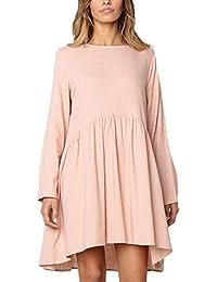 Vestito Donna Corto Vintage Fashion Baggy Camicia Vestiti Ragazza Rotondo  Collo Manica Lunga Eleganti Pieghe Monocromo 1e52c88d008