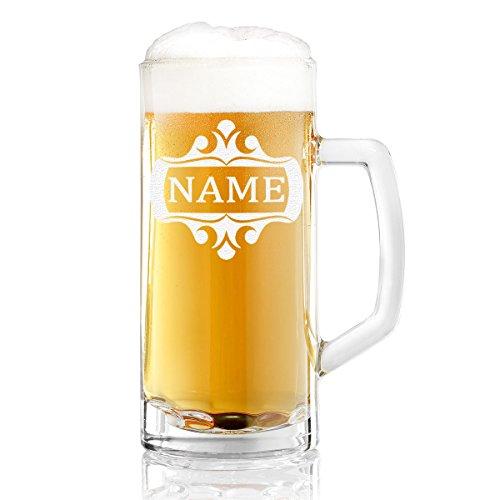 Bierkrug mit Gravur eines Namens – Bierseidel Motiv Rahmen verziert 0,3l