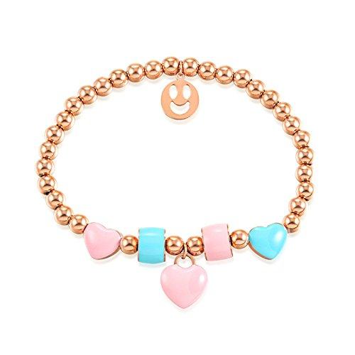 82bfe1bb6400 Aeici Oro Rosa Pulsera para Mujer Acero Inoxidable Sonriendo En Forma de  Corazón Bola Longitud