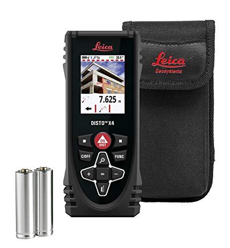 Leica Geosystems Leica DISTO X4 - Robuster Laserdistanzmesser mit Livekamera für Messungen im Aussenbereich, Bluetooth Schnittstelle für Apps und Messbereich bis 150 m