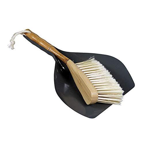 Cabanaz CAPVENTURE Kehrschaufelset Kehrset Traditionelles Kehrschaufel und Pinsel-Set 2-teilig mit Handfeger in Vintage -Retro-Design (Grau)
