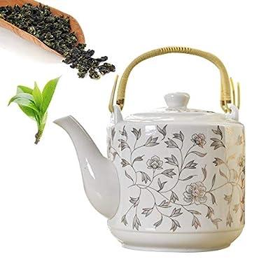 Théière en céramique style vintage,grande capacité,filtre en acier inoxydable,bouilloire,pot de stockage d'eau,culture du thé chinois,vert, jasmin,thé noir,café,lait,salon,amoureux du thé,blanc