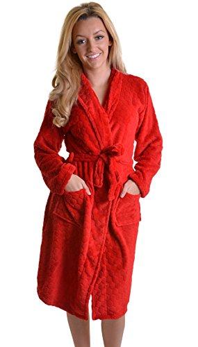 Verkauf Honeycomb Mega Damen-Bademantel, mit Kragen, Taschen vorne & Gürtel, Rot oder cremefarben Rot - Rot