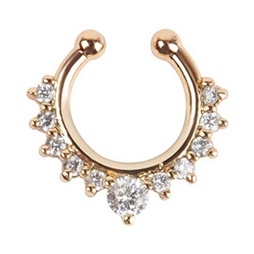 Timlatte Luxury Alloy Rhinestone Fake Nose Ring Piercing Jewelry Zircon Clear Crystal Decorative Nose Stud