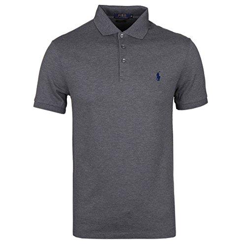 Ralph Lauren Polo Herren Poloshirt Small Pony Custom Fit S-M-L-XL-XXL Outletware, Farbe:Dunkelgrau, Größe:XL - Custom Fit T-shirt