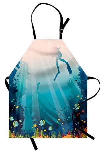 Sea Life Apron, Silhouette eines Scuba Diver Versunkenes Schiffs und Coral Reef, Unisex-Küchenschürze mit verstellbarem Hals zum Kochen Backen Gartenarbeit, Pale Slate Blue Teal und Multicolor -