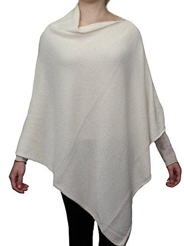 Dalle Piane Cashmere - Poncho 100% cashmere - Donna, Colore: Bianco, Taglia unica