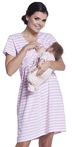 Zeta Ville - Camicia notte righe prémaman gravidanza allattamento - donna - 395c (Rosa, IT 42, S)
