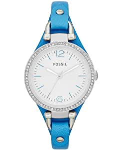 Fossil Women's Watch ES3470 Blue Leather Strap