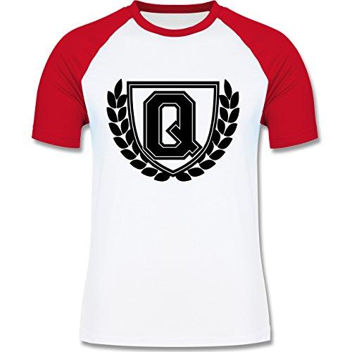 Anfangsbuchstaben - Q Collegestyle - zweifarbiges Baseballshirt für Männer Weiß/Rot
