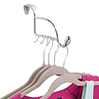 InterDesign Orbinni Valet Hook for Coats, Hats, Robes, Towels - 1 Hook, With Slots for Clothes Hangers - Chrome