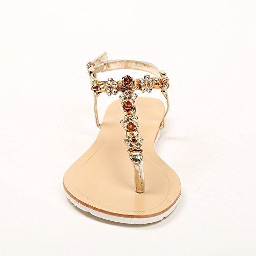 Ideal-Shoes Sandali piatti impreziositi da fiori strassées Greta Oro (Oro)