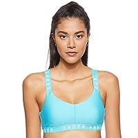 Under Armour Women's Wordmark Strappy Sportlette Bra, Blue (Breathtaking Blue/White), Medium