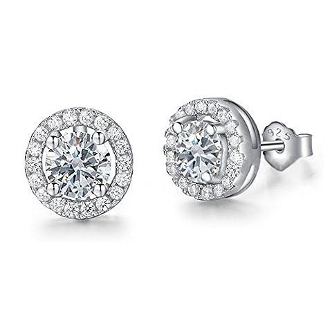 Timando Damen-Ohrstecker rund 925 Sterling Silber weiße Zirkonia Ohrringe