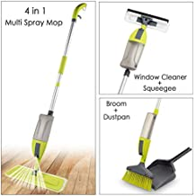 Smile mom 4 in 1 Aluminium Multi Spray Mop with Broom and Dustpan, Window Cleaner and Squeegee/Wiper with 360 Degree Easy Floor Cleaning (Standard)