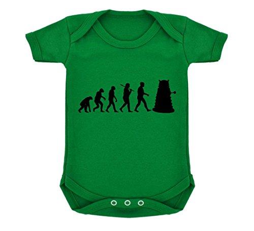 Evolution of a Cyborg Mutant Design Baby Body Smaragd Grün mit Schwarz Print Gr. 6-12 Monate, grün