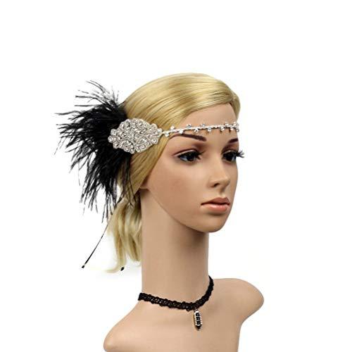 BIEE Straußenfeder-Stirnband Strass-Kopfschmuck mit Pailletten Kopfbedeckung Haarschmuck