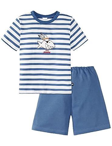Schiesser Jungen Zweiteiliger Schlafanzug Capt´n Sharky Knaben Schlafanzug kurz 156707, Gr. 104, Weiß (weiss