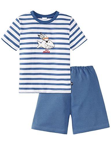 Schiesser Jungen Zweiteiliger Schlafanzug Capt´n Sharky Knaben kurz, (Weiss 100), 98