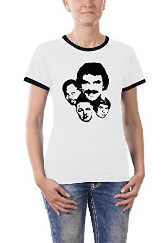 Touchlines Girlie Ringer T-Shirt Magnum P.I., white, M, B9026 - Hawaii Ringer