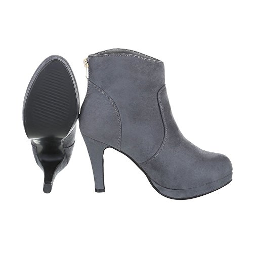 High Heel Stiefeletten Damenschuhe High Heel Stiefeletten Pfennig-/Stilettoabsatz High Heels Reißverschluss Ital-Design Stiefeletten Grau B2900-PB