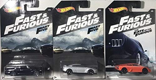 3 Modellautos DieCast Fast and Furious 1/64 6cm Original Hot Wheels Bundle Fast Five Fate of The Furious (Original Hot Wheels)