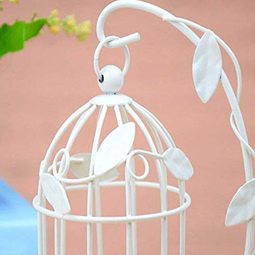 JER Vintage Decor Candle Holders Candelabro Bird Cages Candlesticks For Home Halloween Christmas Festival Decoration White
