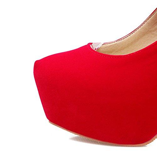 YE Damen High Heels Stiletto Plateau Geschlossen Pumps mit Schnürung Party Modern Schuhe Rot
