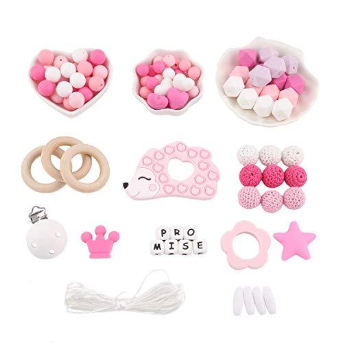 Promise Babe Silikonperlen Beißring Kit Baby Schnullerketten Selber Machen Set DIY Handwerk Eingestellt Krippe Spielzeug Natürliche Holzringe Halskette Anhänger Kinderkrankheiten Spielzeug