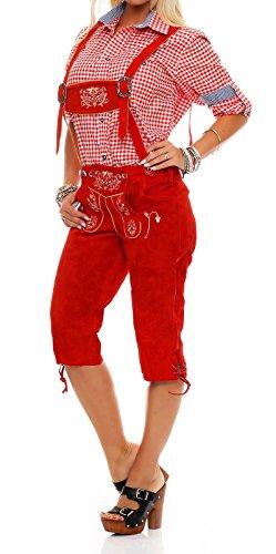 Meloo Trachtenhose Damen Knielang Lederhose Trachten Kniebund mit schönen und traditionellen Stickereien und abnehmbaren Hosenträgern (46, Rot)