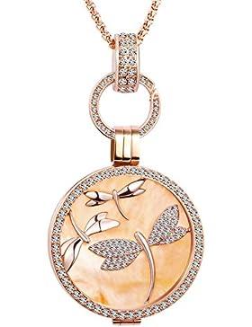 Usea Schmuck 33mm Coins Edelstahl Zirkoniasteine 2 Coins 33mm Rosegold Coinfassung Kette 80cm fur Damen Schmuck...